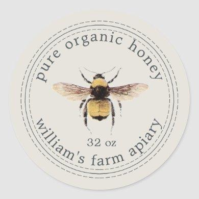 Honey Jar Label Honeybee Apiary Gray