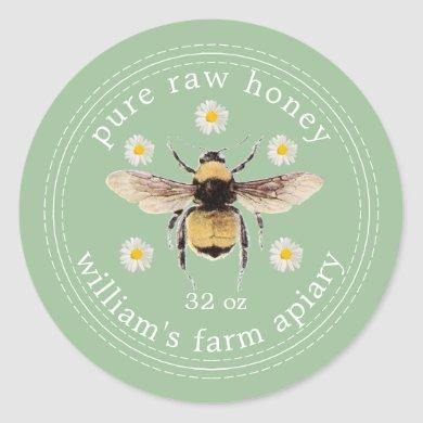 Honey Jar Label Honeybee Apiary Green