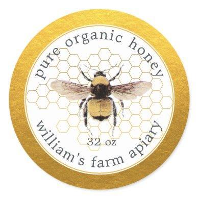Honey Jar Label Honeybee Apiary Honeycomb Gold