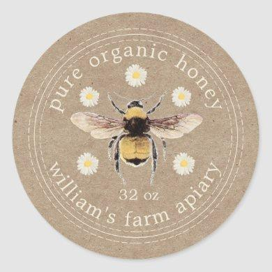Honey Jar Label Honeybee Apiary Kraft Paper