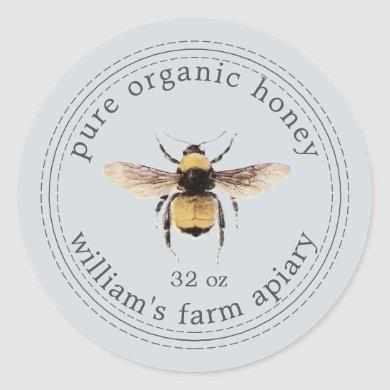 Honey Jar Label Honeybee Apiary Pastel Blue