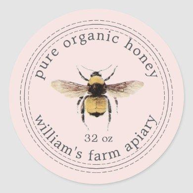 Honey Jar Label Honeybee Apiary Pastel Pink