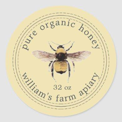 Honey Jar Label Honeybee Apiary Pastel Yellow