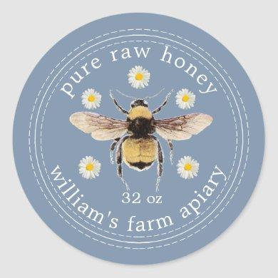 Honey Jar Label Honeybee Apiary Vintage Blue