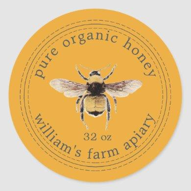 Honey Jar Label Honeybee Apiary Yellow