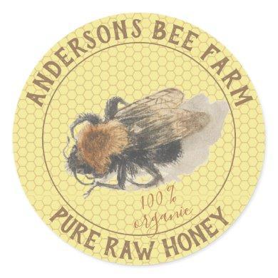Honey Jar Label    Vintage Honeybee & Honeycomb