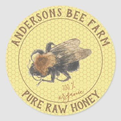 Honey Jar Label |  Vintage Honeybee & Honeycomb