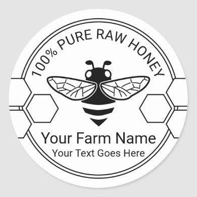 Honey Jar Organic Bee Apiary Beekeeper Farm Classic Round Sticker
