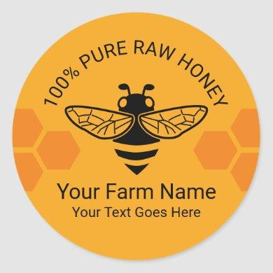 Honey Jar Pure Raw Honey Bee Apiary Beekeeper Classic Round Sticker