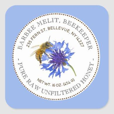 Honey Label Blue Flower Bee Beekeeping Sticker