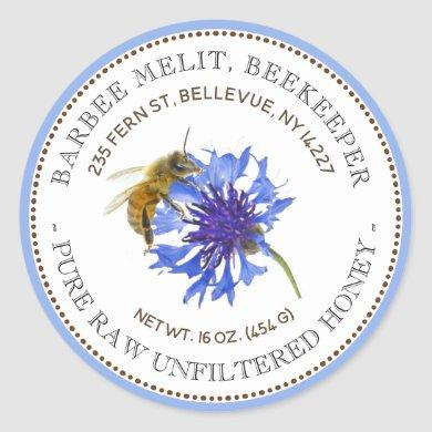 Honey Label Blue Flower Bee with Blue Border