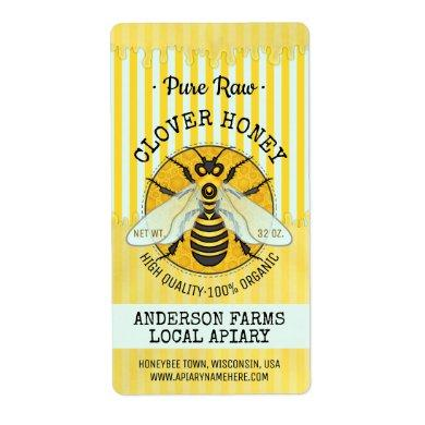 Honeybee Honey Jar Apiary Bee Labels | Striped