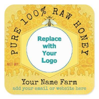 Honeybee Honey Jar Apiary Logo   Honeycomb Bee Square Sticker