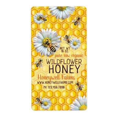 Honeybees Apiary Wildflower Honey Bees Flowers Jar Label
