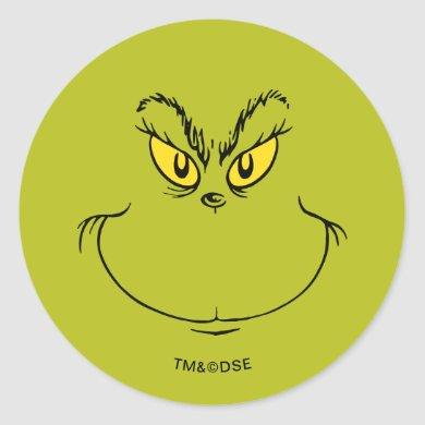 How the Grinch Stole Christmas Face Classic Round Sticker