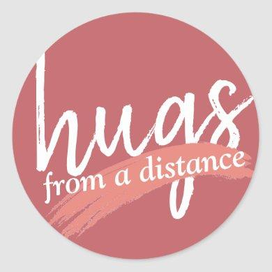 hugs from a distance in maude pink classic round sticker