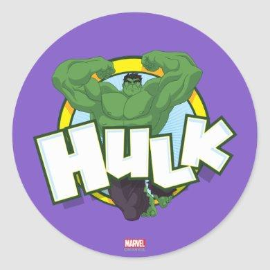 Hulk Character and Name Graphic Classic Round Sticker