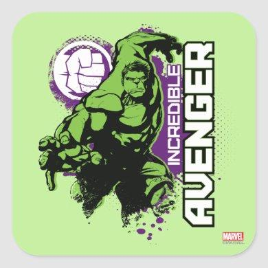 Hulk Incredible Avenger Square Sticker