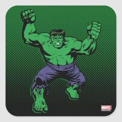 Hulk Retro Arms Square Sticker
