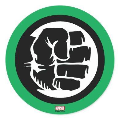 Hulk Retro Fist Icon Classic Round Sticker