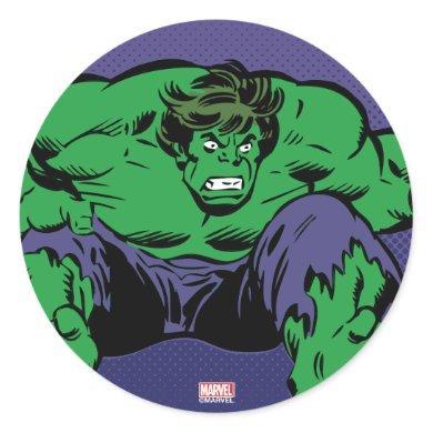 Hulk Retro Jump Classic Round Sticker