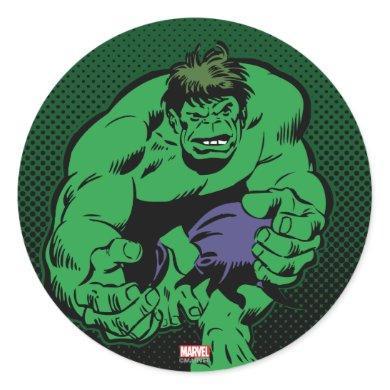 Hulk Retro Stomp Classic Round Sticker