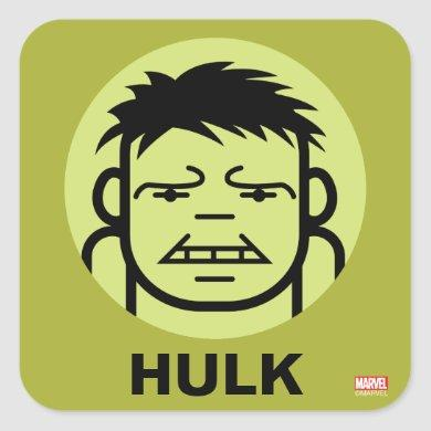 Hulk Stylized Line Art Icon Square Sticker