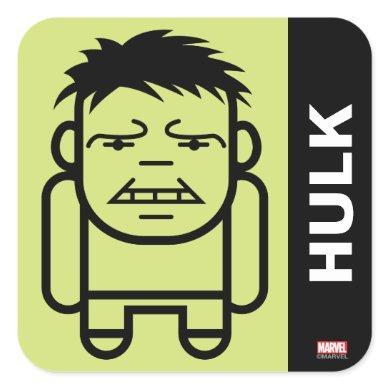 Hulk Stylized Line Art Square Sticker