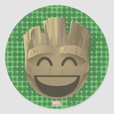 """I Am Groot"" Text Emoji Classic Round Sticker"