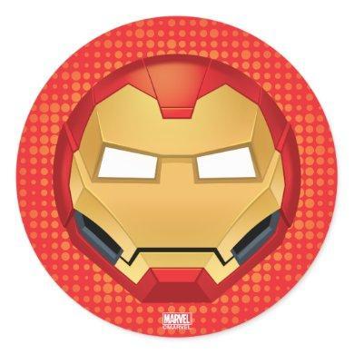 """I Am Iron Man"" Emoji Classic Round Sticker"