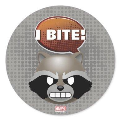 """I Bite"" Rocket Emoji Classic Round Sticker"