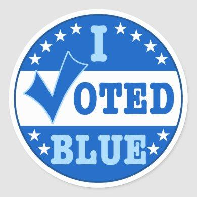 I Voted Blue Democratic Party Classic Round Sticker