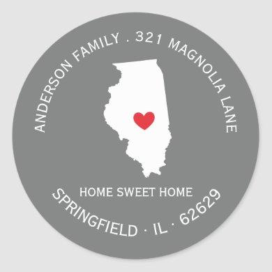 ILLINOIS State | New Home Address Label Sticker