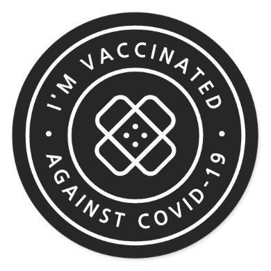 I'm Vaccinated   Black Covid-19 Band-Aid Classic Round Sticker