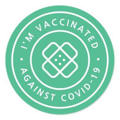 I'm Vaccinated   Covid Vaccine Green Bandaid Classic Round Sticker