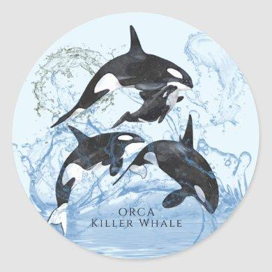 Incredible Black and White Watercolor Orcas Classic Round Sticker