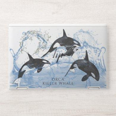 Incredible Black and White Watercolor Orcas HP Laptop Skin