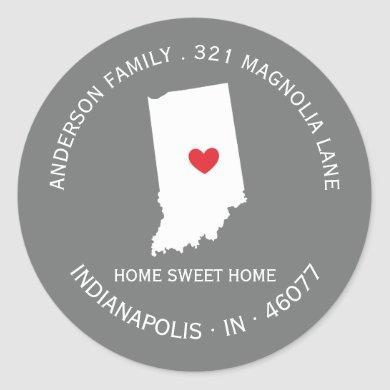 INDIANA State   New Home Address Label Sticker