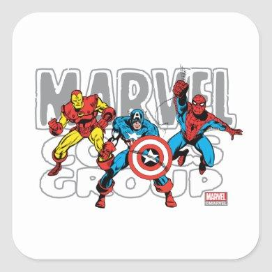 Iron Man, Captain America, Spider-Man Comics Group Square Sticker