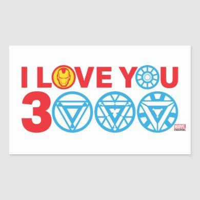 Iron Man | I Love You 3000 Rectangular Sticker