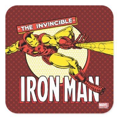 Iron Man Retro Character Graphic Square Sticker