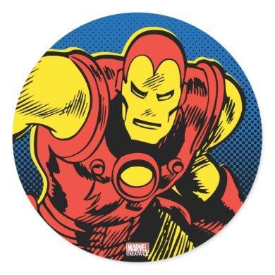 Iron Man Retro Flying Classic Round Sticker