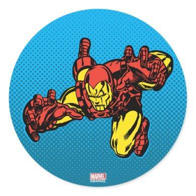Iron Man Retro Grab Classic Round Sticker