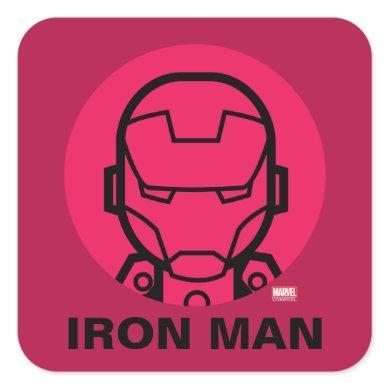 Iron Man Stylized Line Art Icon Square Sticker