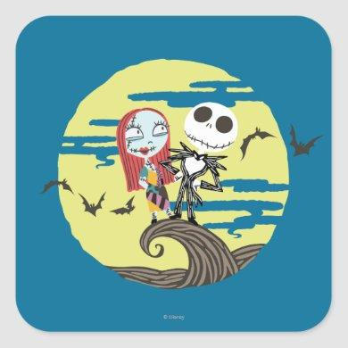 Jack and Sally | Cute Moon Square Sticker