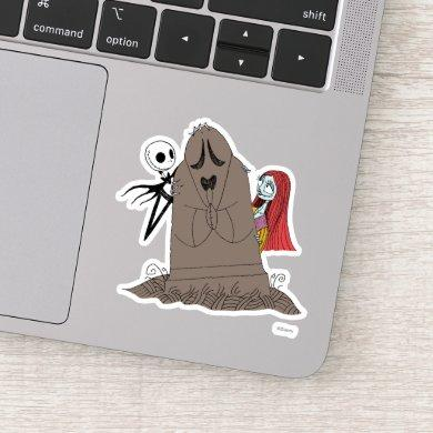 Jack and Sally Hiding Behind Tombstone Sticker