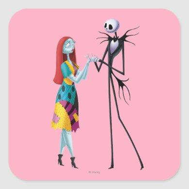 Jack and Sally Holding Hands Square Sticker