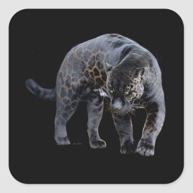 Jaguar Diablo black small square stickers