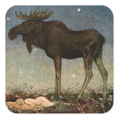 John Bauer - Skutt by Tuvstarr 1913 Square Sticker