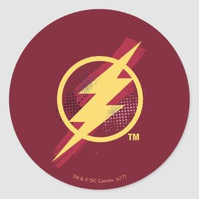 Justice League | Brush & Halftone Flash Symbol Classic Round Sticker